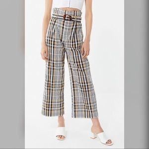 UO Plaid Belted Culotte Pant